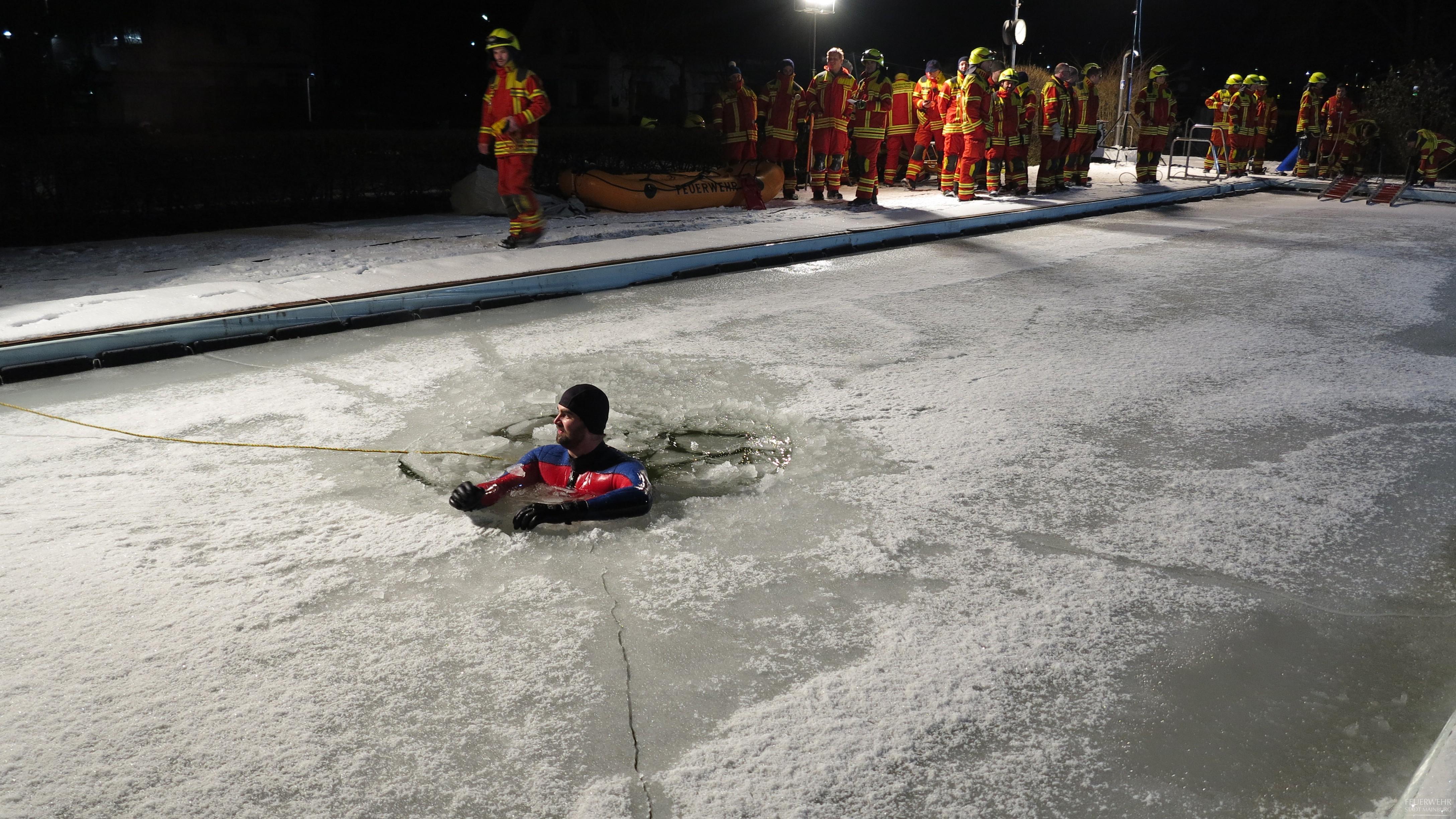 Hilflose Person im eiskalten Wasser.